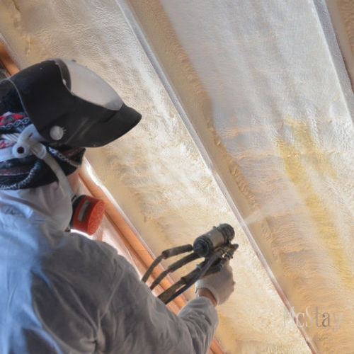 Roof coatings are often sprayed on during roof restoration.