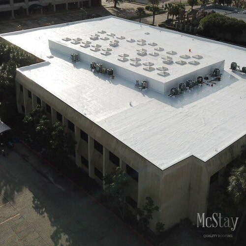 Flat roofs are common in commercial roofing.